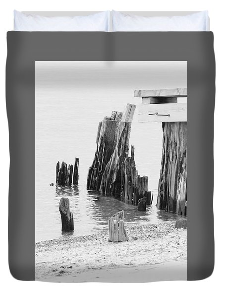 Rustic Pilings In Bw Duvet Cover