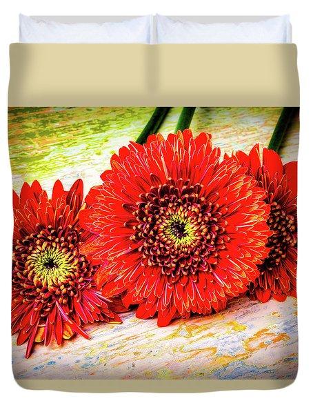 Rustic Red Dasies Duvet Cover by Garry Gay