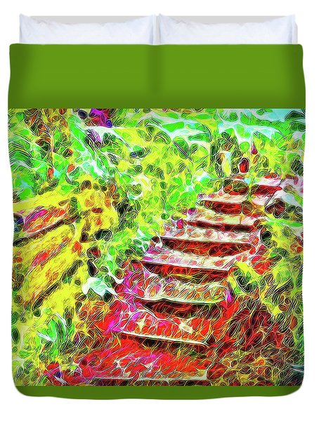 Duvet Cover featuring the digital art Rustic Step Path Through The Woods - Tamalpais California by Joel Bruce Wallach