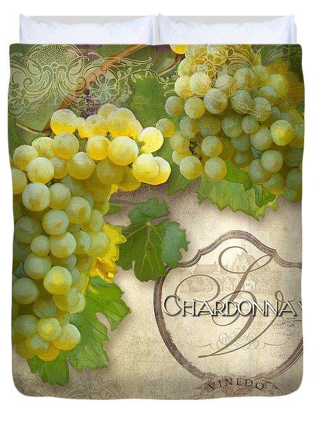 Rustic Vineyard - Chardonnay White Wine Grapes Vintage Style Duvet Cover
