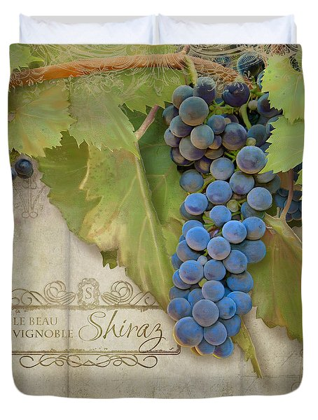 Rustic Vineyard - Shiraz Wine Grapes Over Stone Duvet Cover