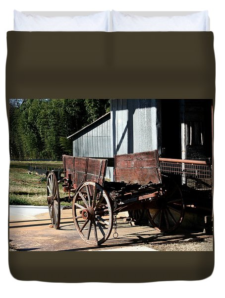 Rustic Wagon Duvet Cover by Cathy Harper