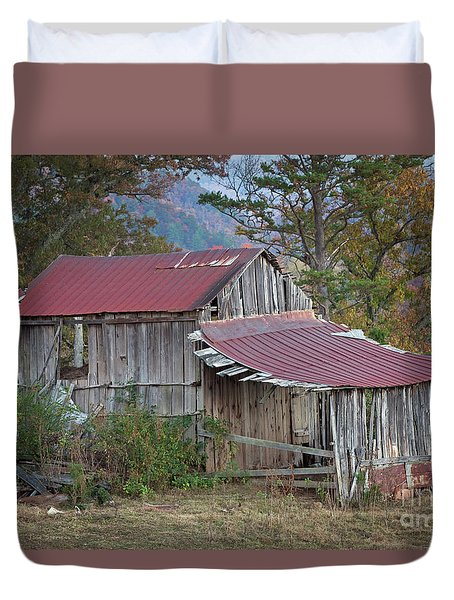 Duvet Cover featuring the photograph Rustic Weathered Hillside Barn by John Stephens