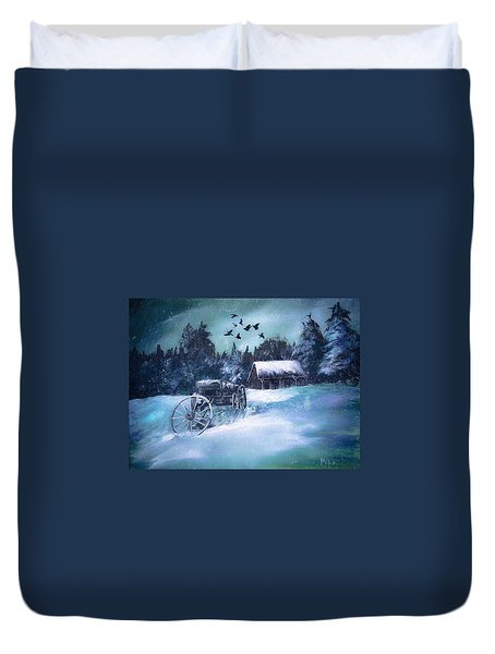 Rustic Winter Barn  Duvet Cover by Michele Carter