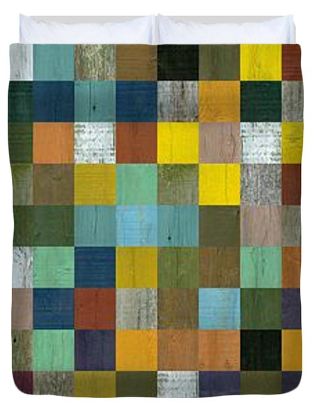 Rustic Wooden Abstract Tower Duvet Cover by Michelle Calkins