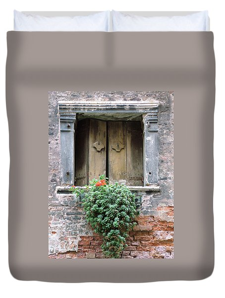 Rustic Wooden Window Shutters Duvet Cover