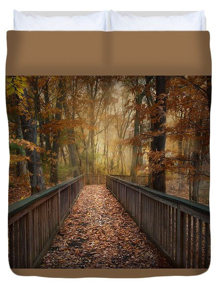 Duvet Cover featuring the photograph Rustic Woodland by Robin-Lee Vieira