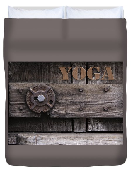 Rustic Yoga Duvet Cover by Kandy Hurley
