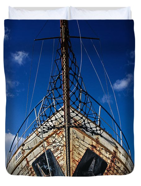 Rusting Boat Duvet Cover by Stelios Kleanthous