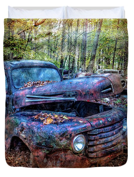Duvet Cover featuring the photograph Rusty Blue Vintage Ford  Truck by Debra and Dave Vanderlaan