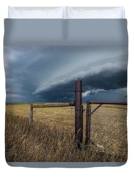 Duvet Cover featuring the photograph Rusty Cage Horizontal  by Aaron J Groen