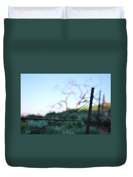 Duvet Cover featuring the photograph Rusty Gate Rural Tree 2 by Matt Harang