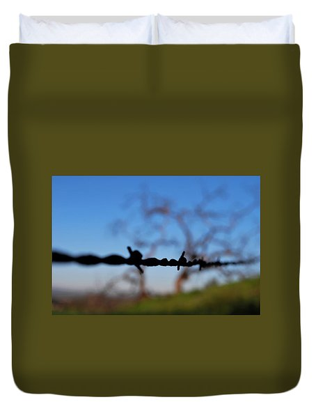 Duvet Cover featuring the photograph Rusty Gate Rural Tree by Matt Harang