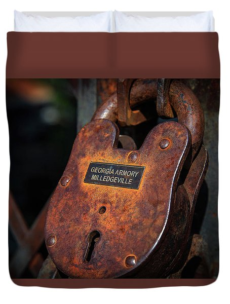 Duvet Cover featuring the photograph Rusty Lock by Doug Camara