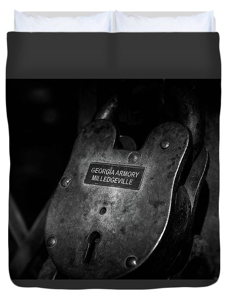 Duvet Cover featuring the photograph Rusty Lock In Bw by Doug Camara