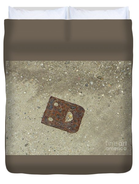 Rusty Metal Hinge Smiley Duvet Cover