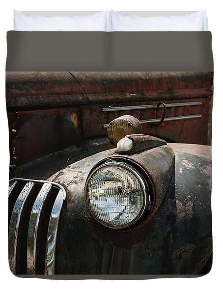 Duvet Cover featuring the photograph Rusty Old Headlight  by Kim Hojnacki