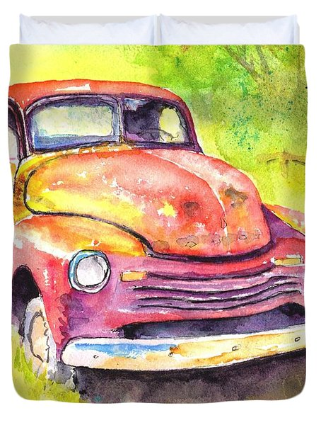 Rusty Old Red Truck Duvet Cover
