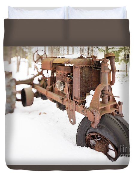 Rusty Old Steel Wheel Tractor In The Snow Tilt Shift Duvet Cover