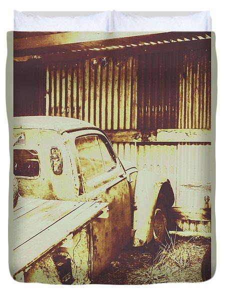 Rusty Pickup Garage Duvet Cover