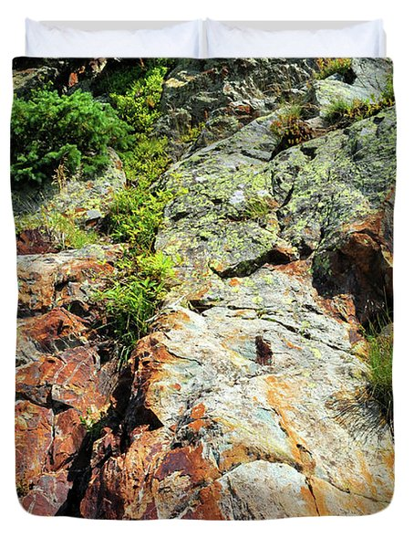 Duvet Cover featuring the photograph Rusty Rock Face by Ron Cline