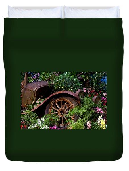 Rusty Truck In The Garden Duvet Cover