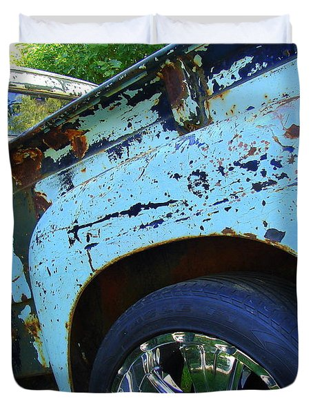 Rusty Truck With Shiny Rims Duvet Cover by Ramona Johnston