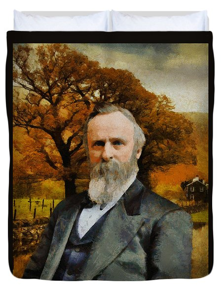 Duvet Cover featuring the painting Rutherford B. Hayes by Kai Saarto