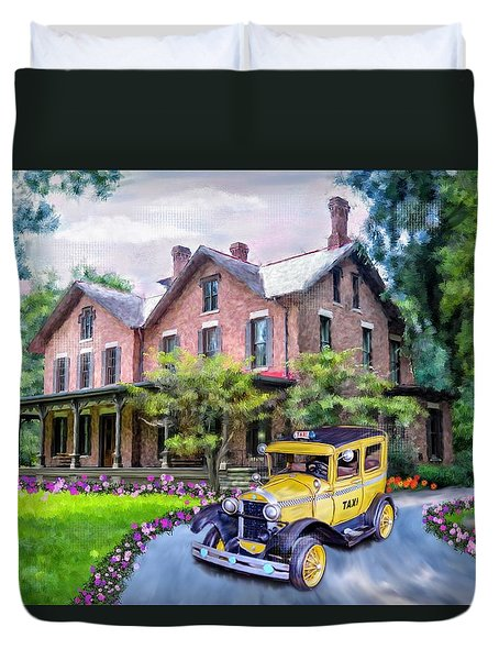 Duvet Cover featuring the photograph Rutherford B. Hayes Taxi by Mary Timman
