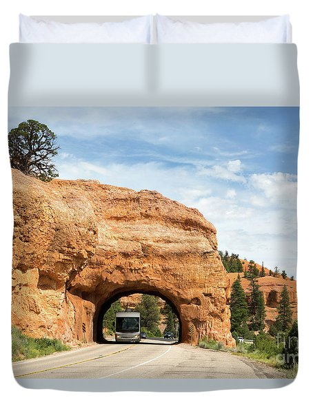 Duvet Cover featuring the photograph Rv Red Canyon Tunnel Utah by Steven Frame