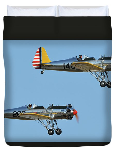 Ryan Pt-22 N48777 146 And Pt-22 N48742 269 Chino California April 29 2016 Duvet Cover by Brian Lockett