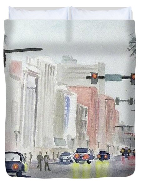 Duvet Cover featuring the painting S. Main Street In Ann Arbor Michigan by Yoshiko Mishina