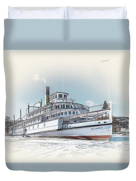 Duvet Cover featuring the photograph S. S. Sicamous II by John Poon