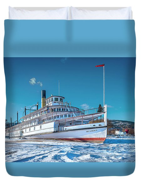 Duvet Cover featuring the photograph S. S. Sicamous by John Poon