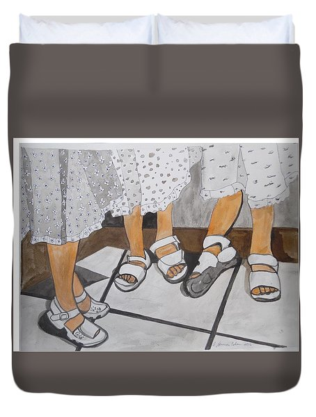 Duvet Cover featuring the painting Sabbath Sandals by Esther Newman-Cohen