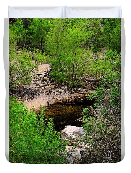 Duvet Cover featuring the photograph Sabino Canyon Op44 by Mark Myhaver