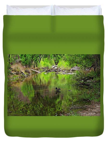Duvet Cover featuring the photograph Sabino Reflection Op53 by Mark Myhaver