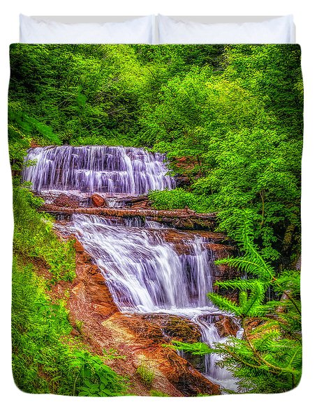 Duvet Cover featuring the photograph Sable Falls by Nick Zelinsky