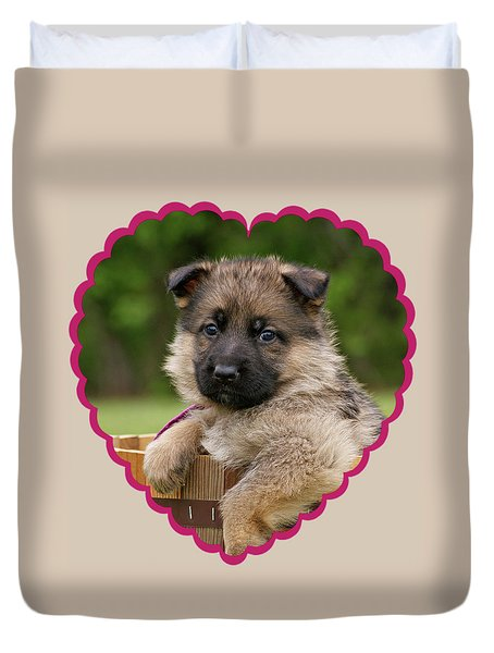 Duvet Cover featuring the photograph Sable Puppy In Heart by Sandy Keeton