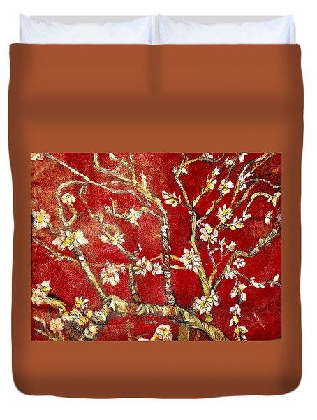 Sac Rouge Avec Fleurs D'almandiers Duvet Cover by Belinda Low