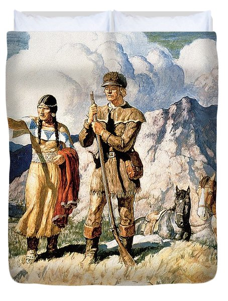 Sacagawea With Lewis And Clark During Their Expedition Of 1804-06 Duvet Cover