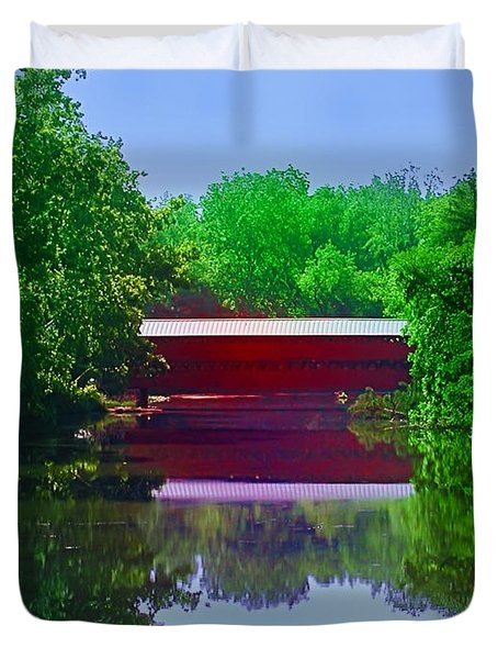 Sachs Covered Bridge - Gettysburg Pa Duvet Cover by Bill Cannon