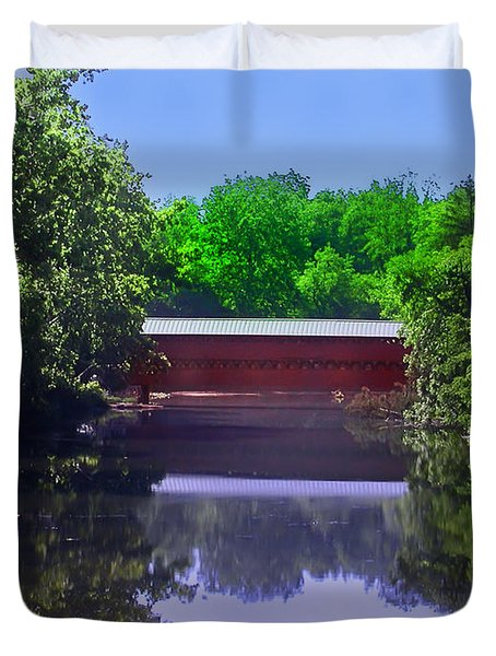 Sachs Covered Bridge In Gettysburg  Duvet Cover by Bill Cannon