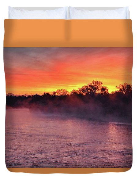 Sacramento River Sunrise Duvet Cover