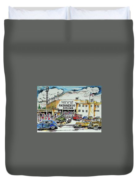 Duvet Cover featuring the painting Sacramento Solons by Terry Banderas