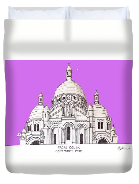 Duvet Cover featuring the drawing Sacre Couer by Frederic Kohli