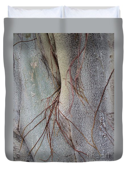 Duvet Cover featuring the photograph Sacred Bodhi Tree Detail With Red Creeper Vines by Jason Rosette