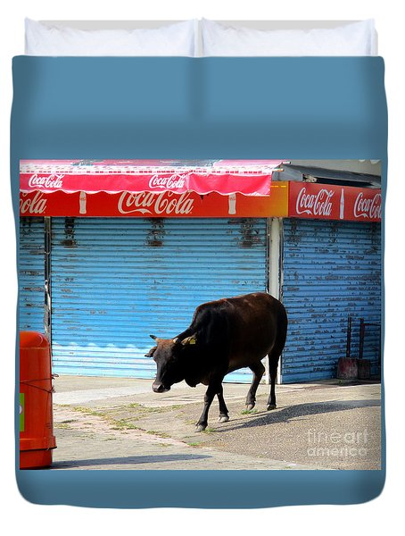 Duvet Cover featuring the photograph Sacred Cow 1 by Randall Weidner