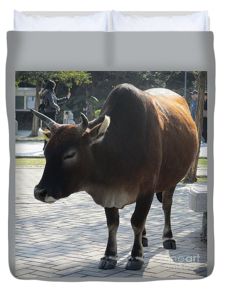 Duvet Cover featuring the photograph Sacred Cow 2 by Randall Weidner