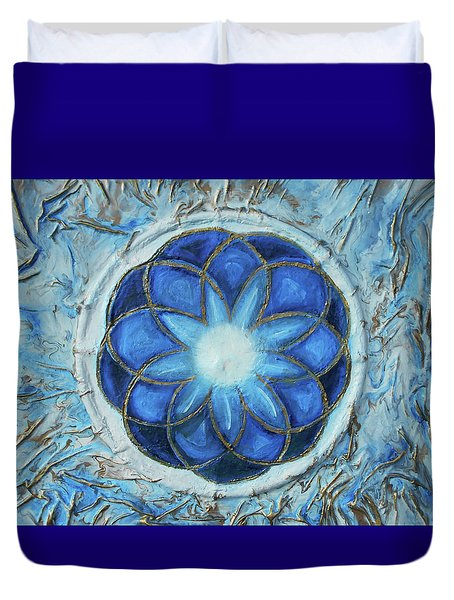 Duvet Cover featuring the mixed media Sacred Geometry by Angela Stout